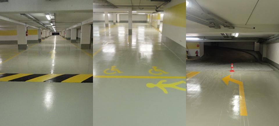 Marquage au sol d'un parking intérieur